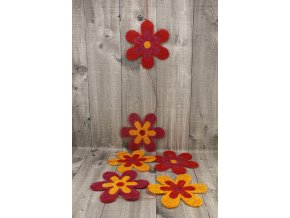 Girlanda květy sisal 15cm červená