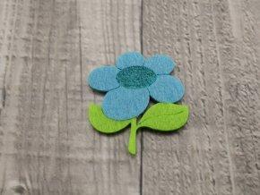 Květina filcová modrá