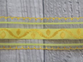 Stuha 25 vyšívaná/žlutá