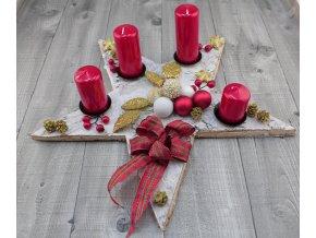 Svícen adventní kůra červený