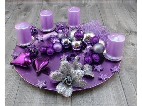 Svícen adventní talíř fialový