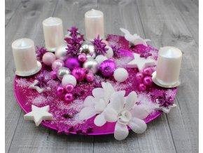 Svícen adventní talíř zasněžený malinový