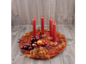 Svícen adventní talíř rezavohnědý