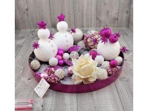 Svícen vánoční tác se světýlky malinový