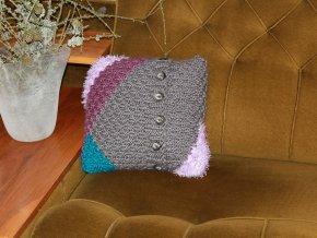 Polštářek pletený šedofialový
