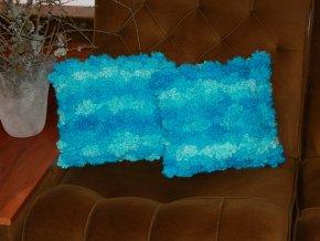 Polštářky pletené,modrý tyrkys sada 2 kusy
