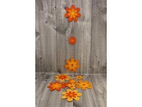 Girlanda papyrus květ malý a velký-oranžová