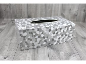 Krabice na kapesníky-stříbrná,oblázky