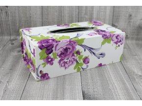 Krabice na kapesníky-fialový květ