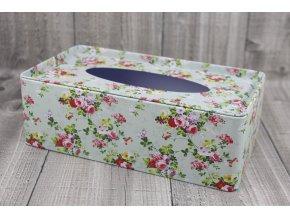 Krabice na kapesníky-zelená s květy