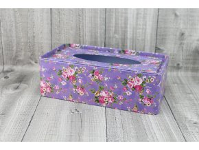 Krabice na kapesníky-fialová s květy