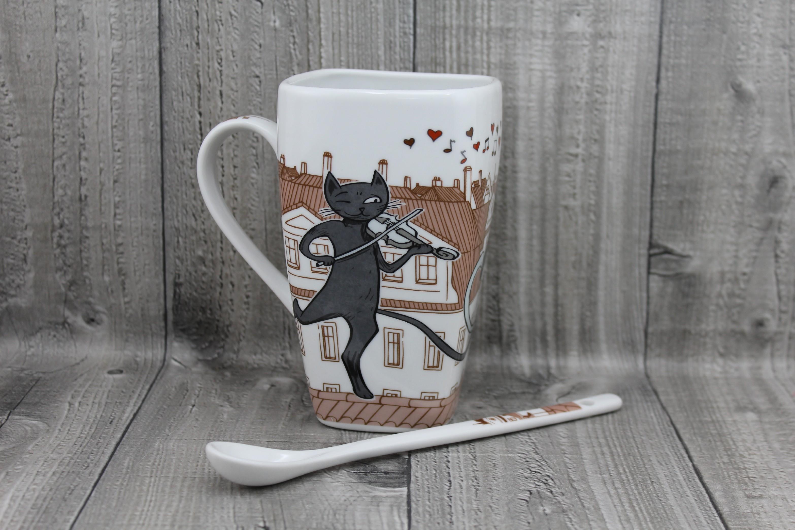 Hrnek porcelán kočky 0,6l se lžičkou