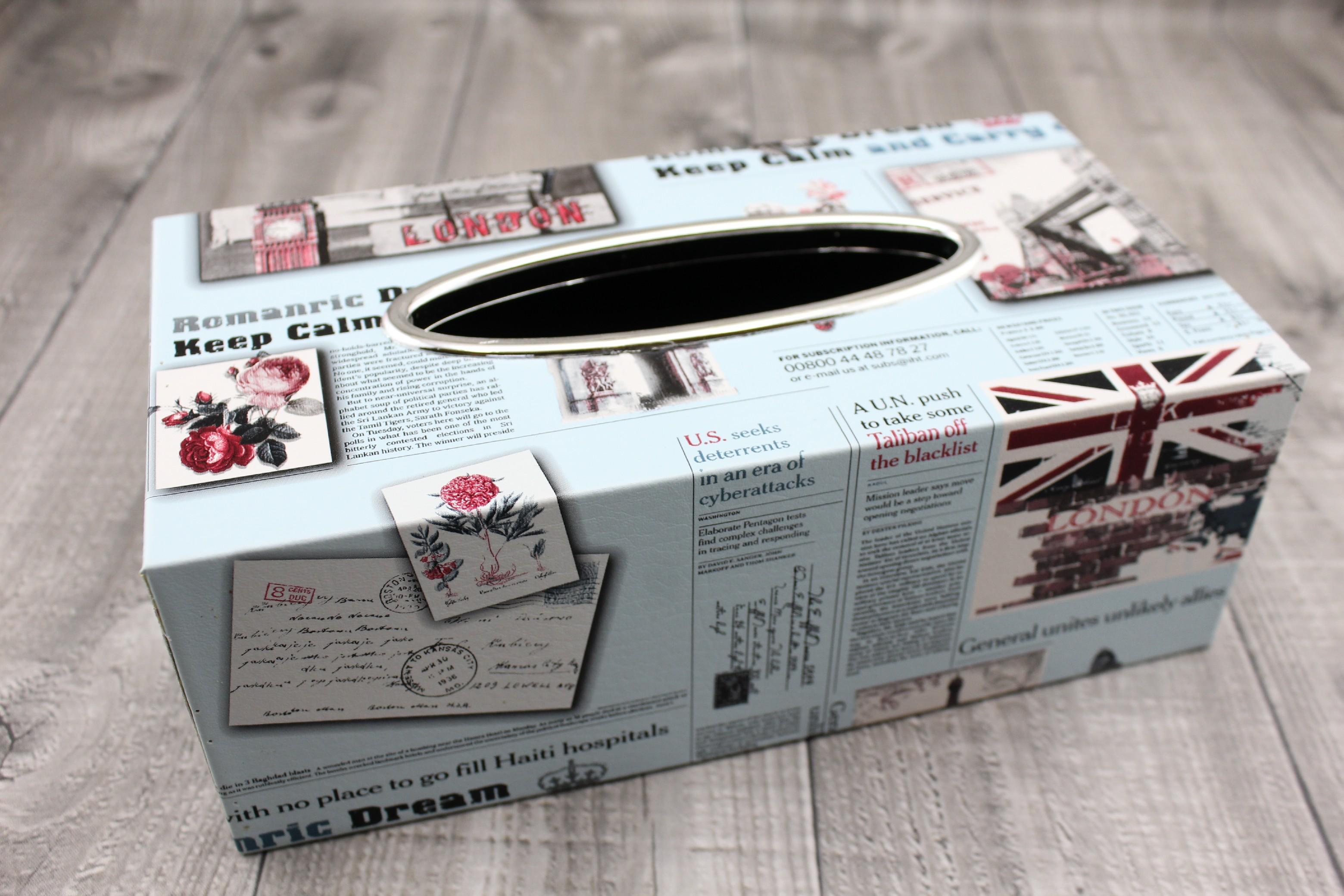 Krabice na kapesníky-tisk modrá