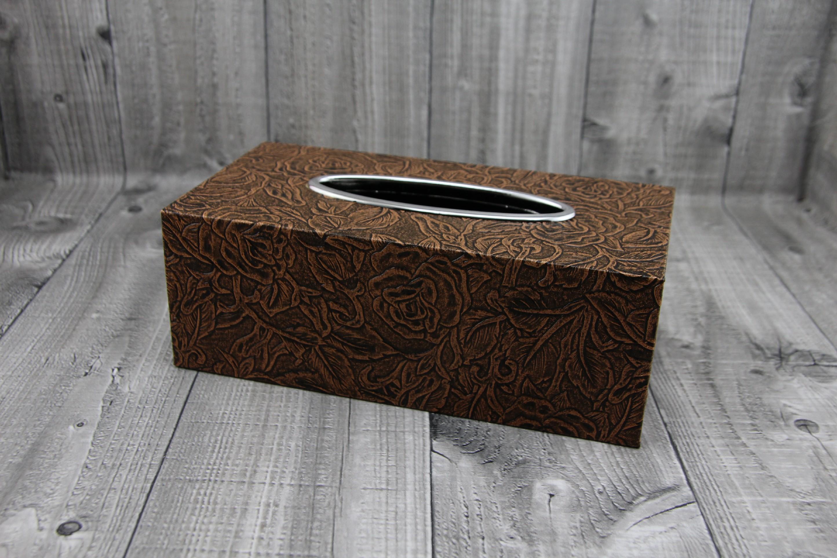 Krabice na kapesníky-hnědá, růže