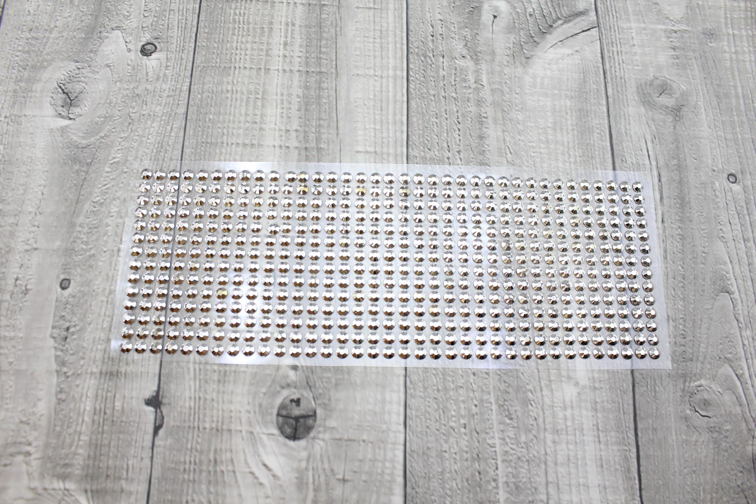 Kamínky nalepovací 6mm-stříbrná