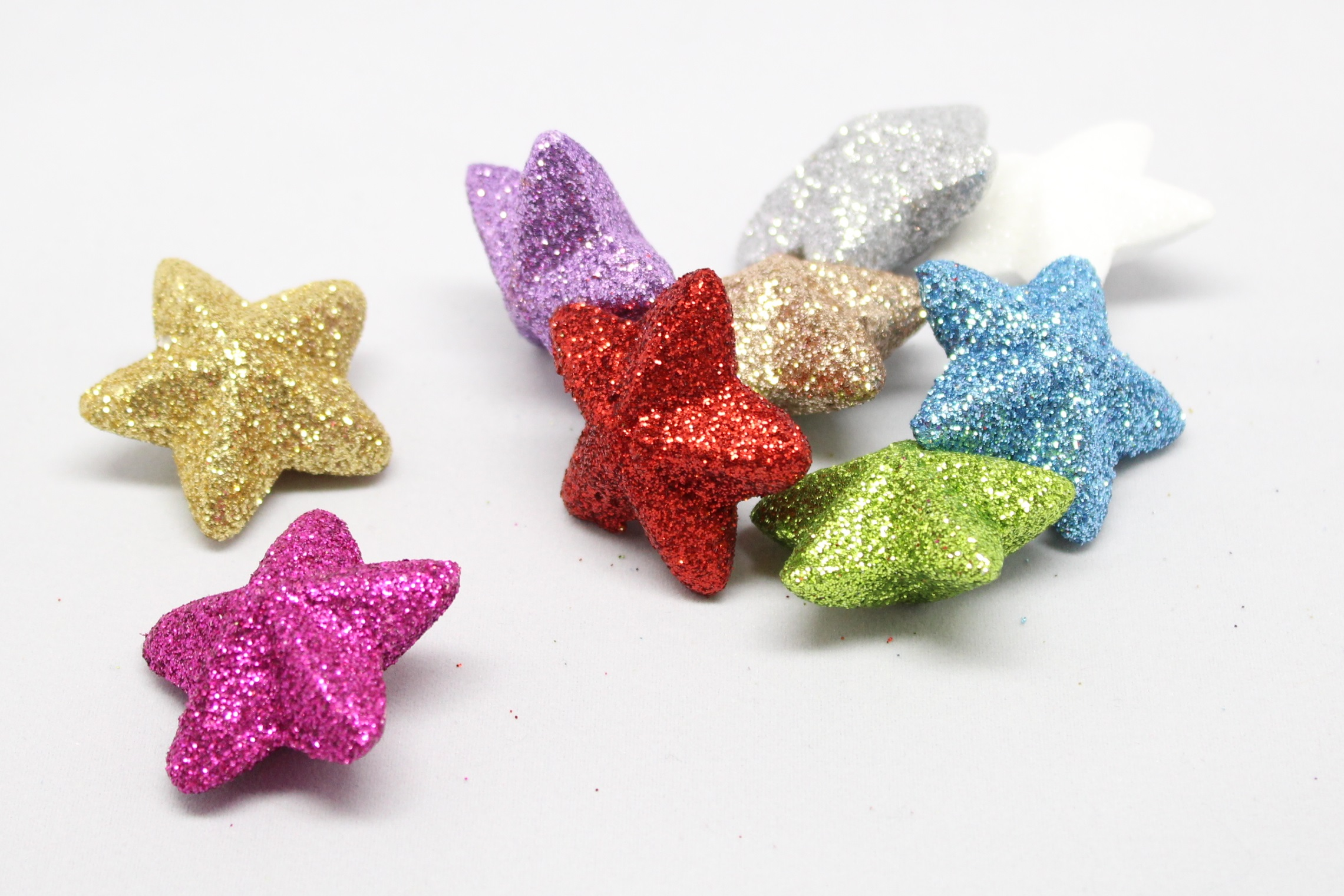 Hvězdička malá glitrová 3D Číslo: 03 zlatá