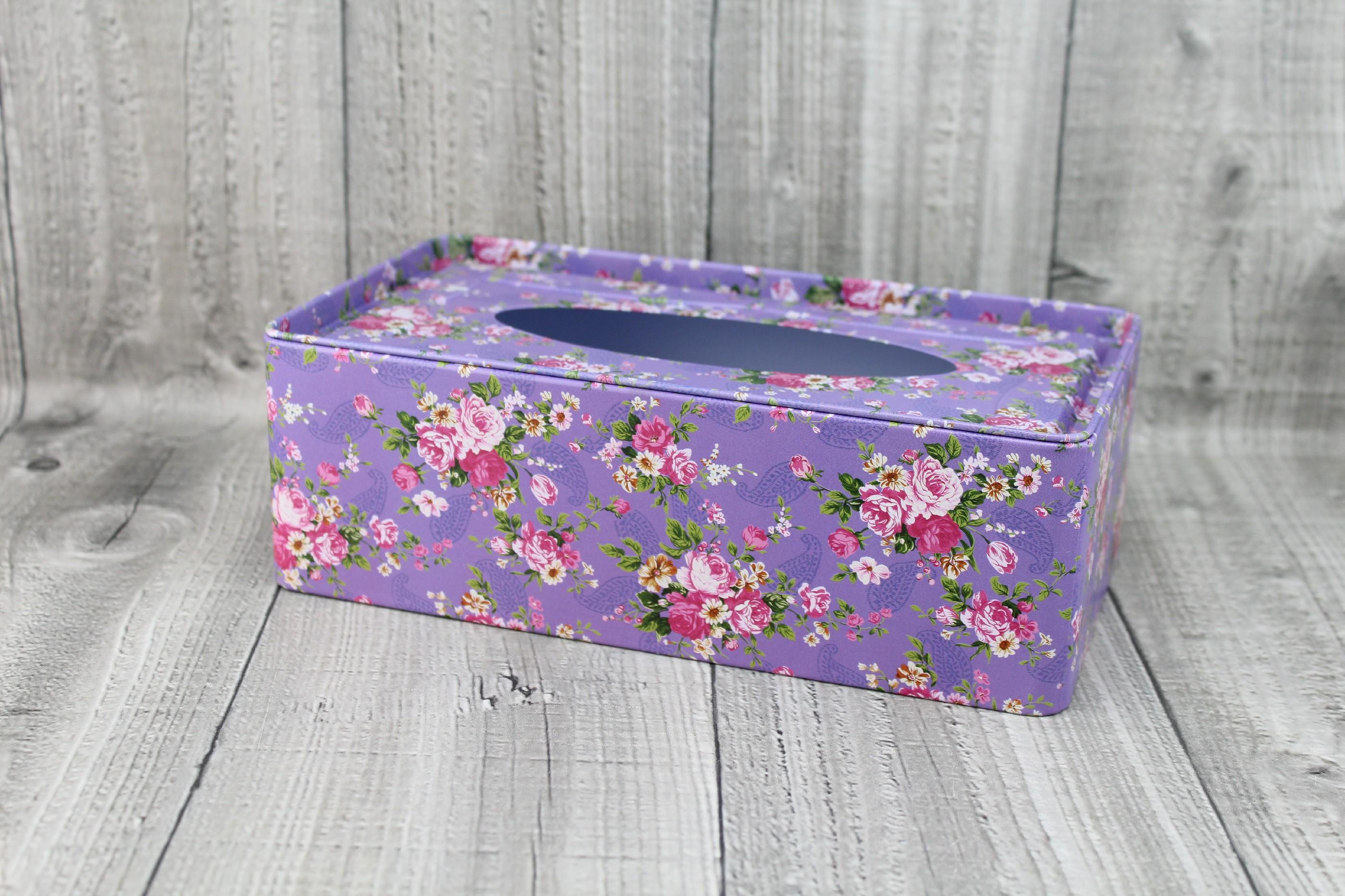 Krabice na kapesníky-fialová s květy počet kusů: včetně kapesníčků