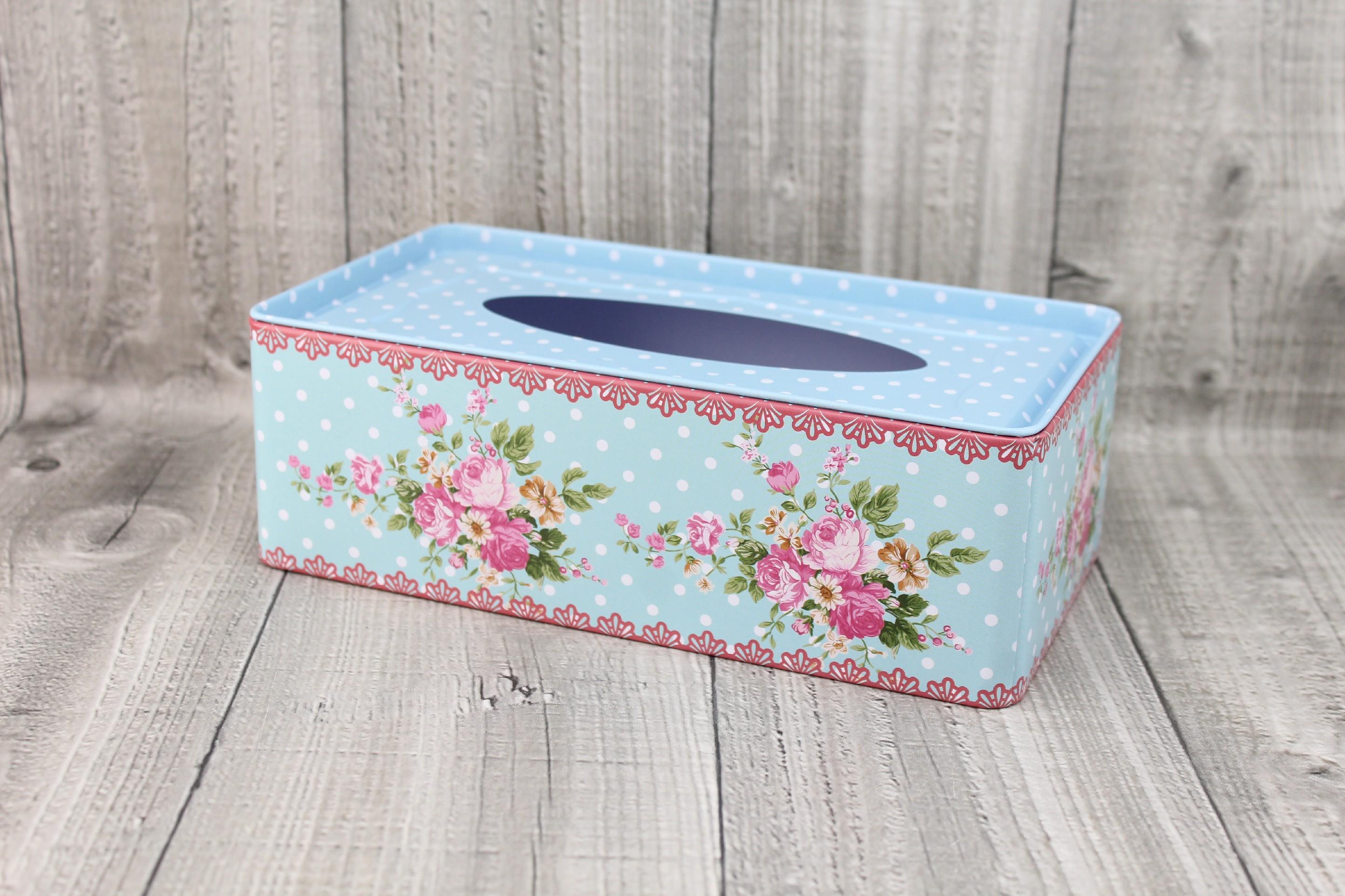 Krabice na kapesníky-světle modrá, puntíky počet kusů: včetně kapesníčků