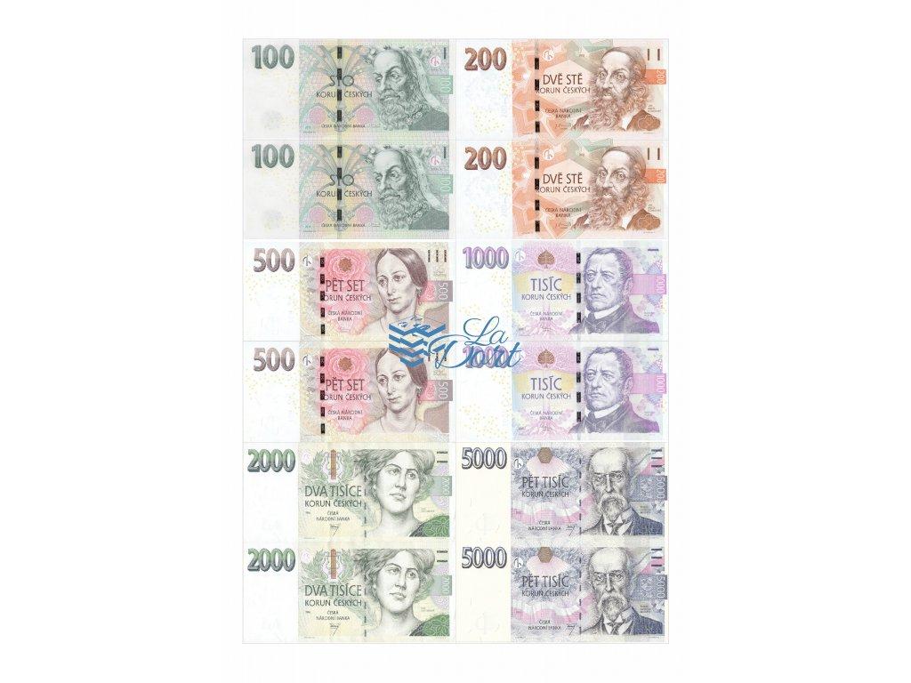 České platné bankovky - líc - A4 - 00214
