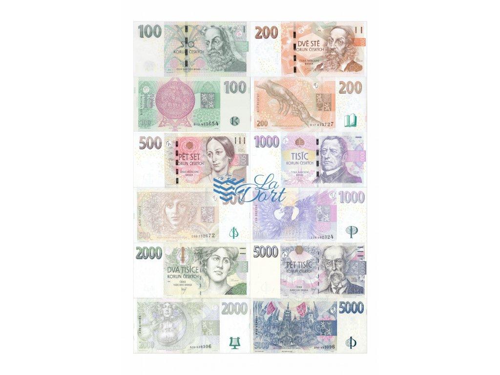 České platné bankovky - líc a rub - A4 - 00215