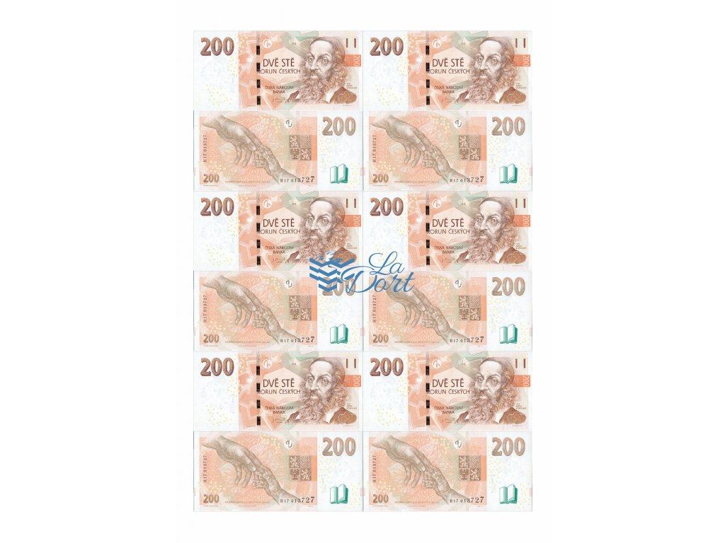 České platné bankovky 200,-Kč - líc a rub - A4 - 00217