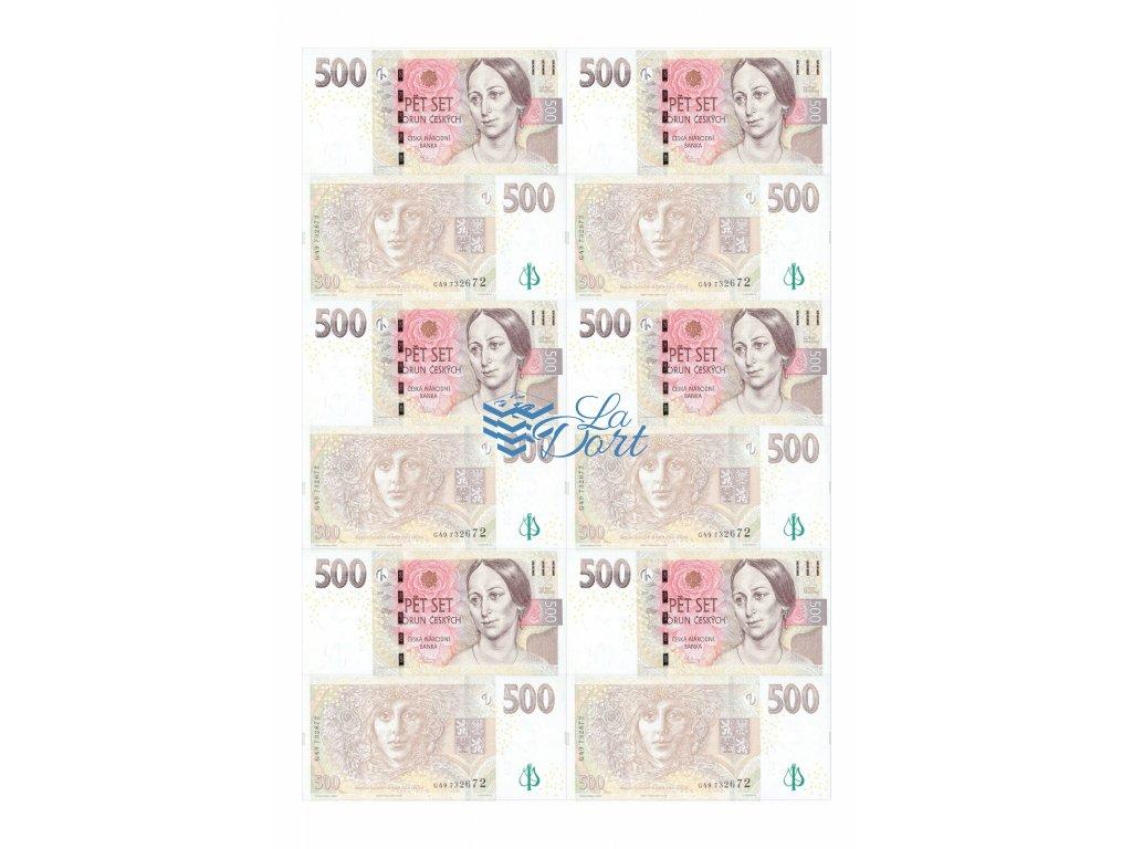 České platné bankovky 500,-Kč - líc a rub - A4 - 00218