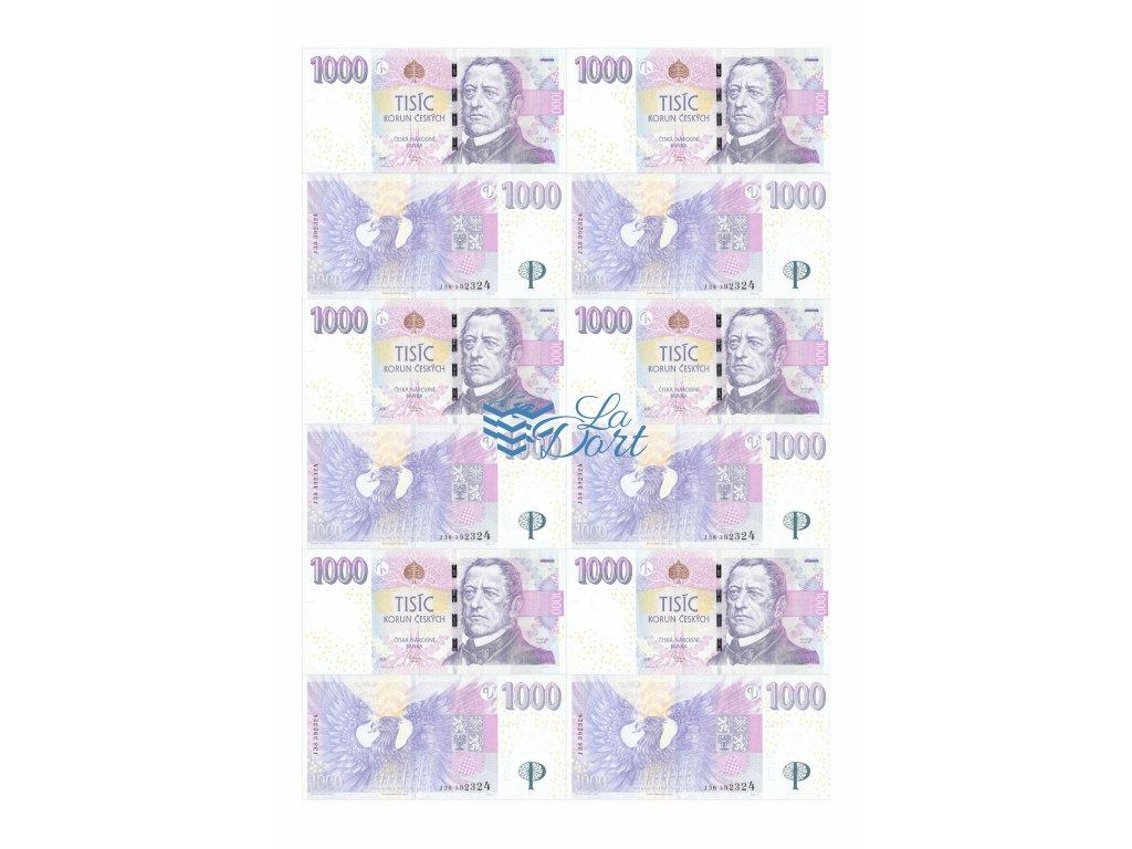 České platné bankovky 1.000,-Kč - líc a rub - A4 - 00219