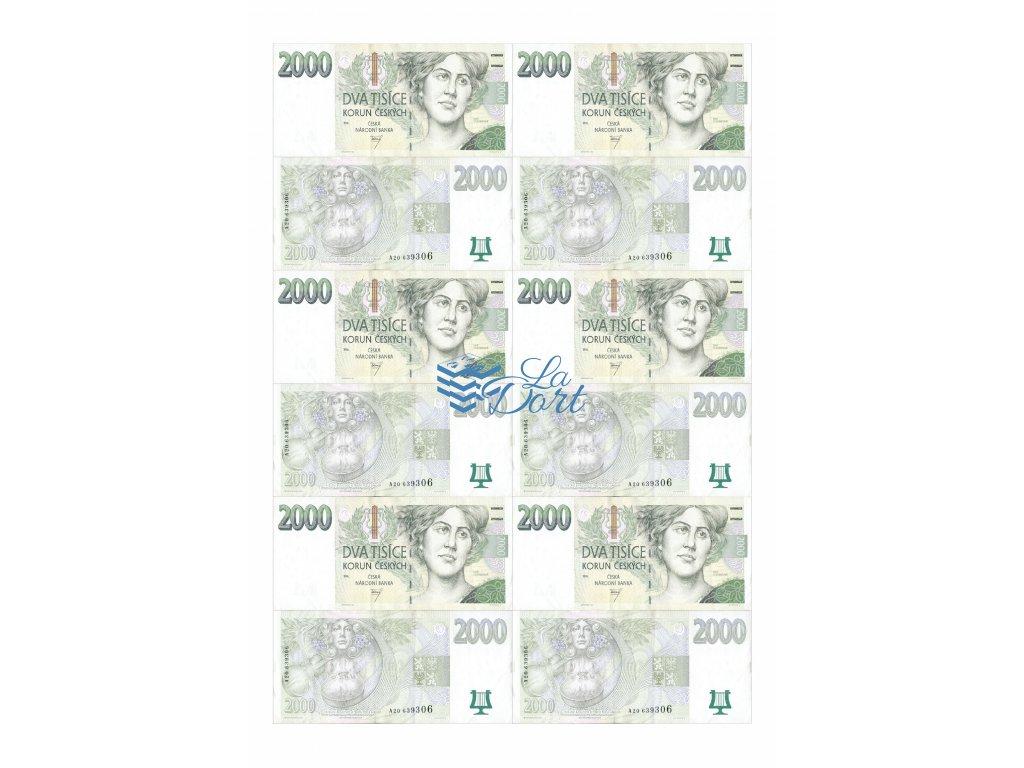 České platné bankovky 2.000,-Kč - líc a rub - A4 - 00220