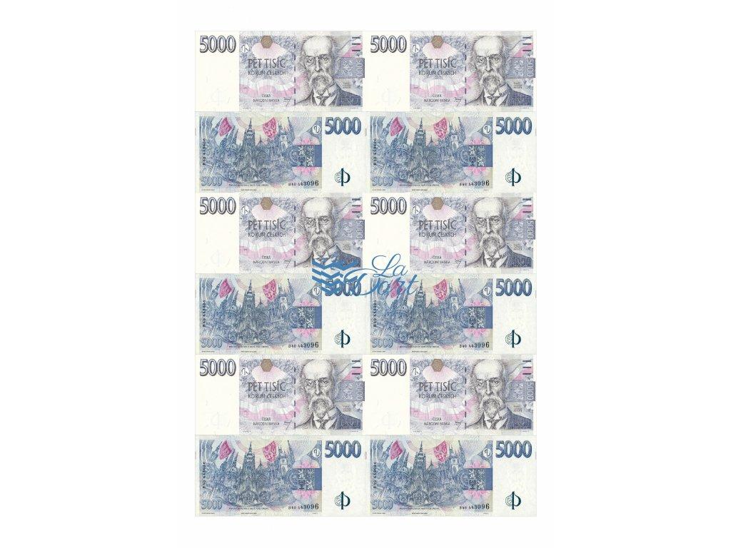 České platné bankovky 5.000,-Kč - líc a rub - A4 - 00221