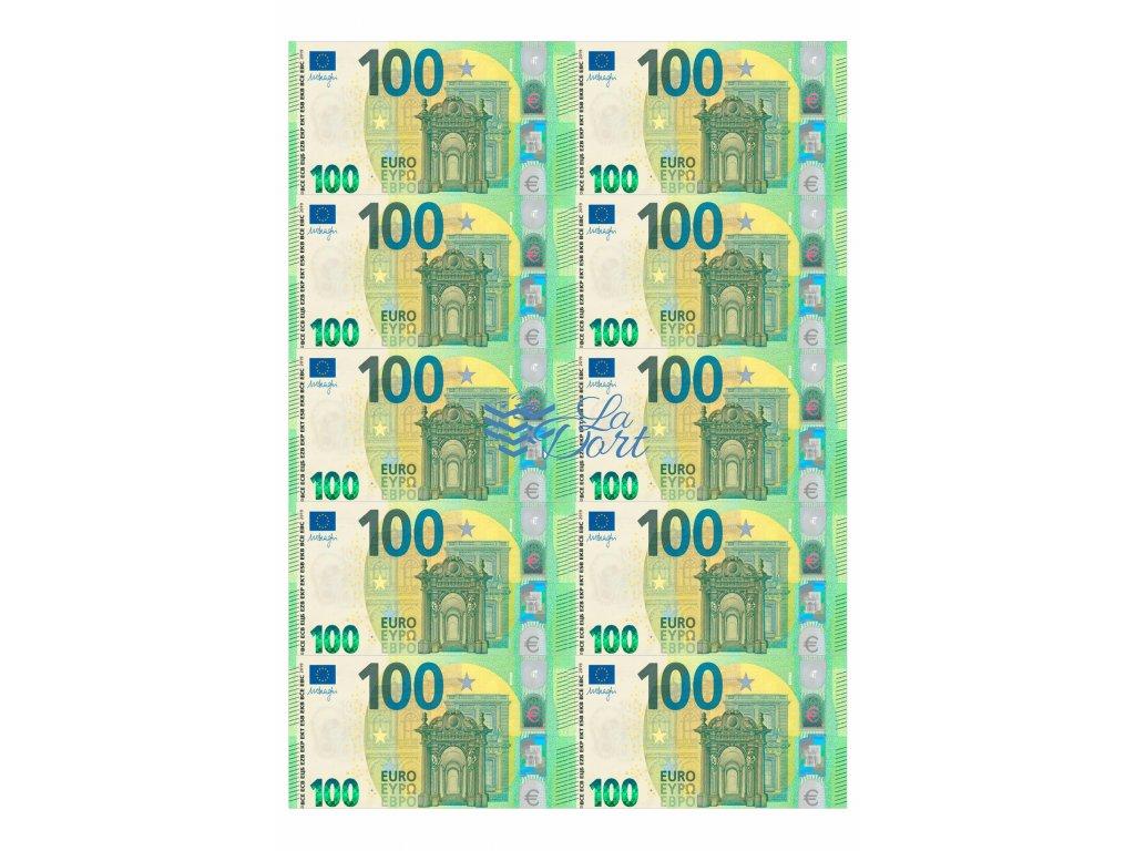 Euro platné bankovky 100€ - líc - A4 - 00223