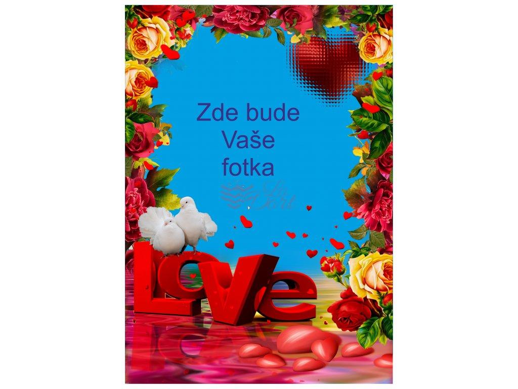 Valentýn růže a nápis love - A4 - 00227