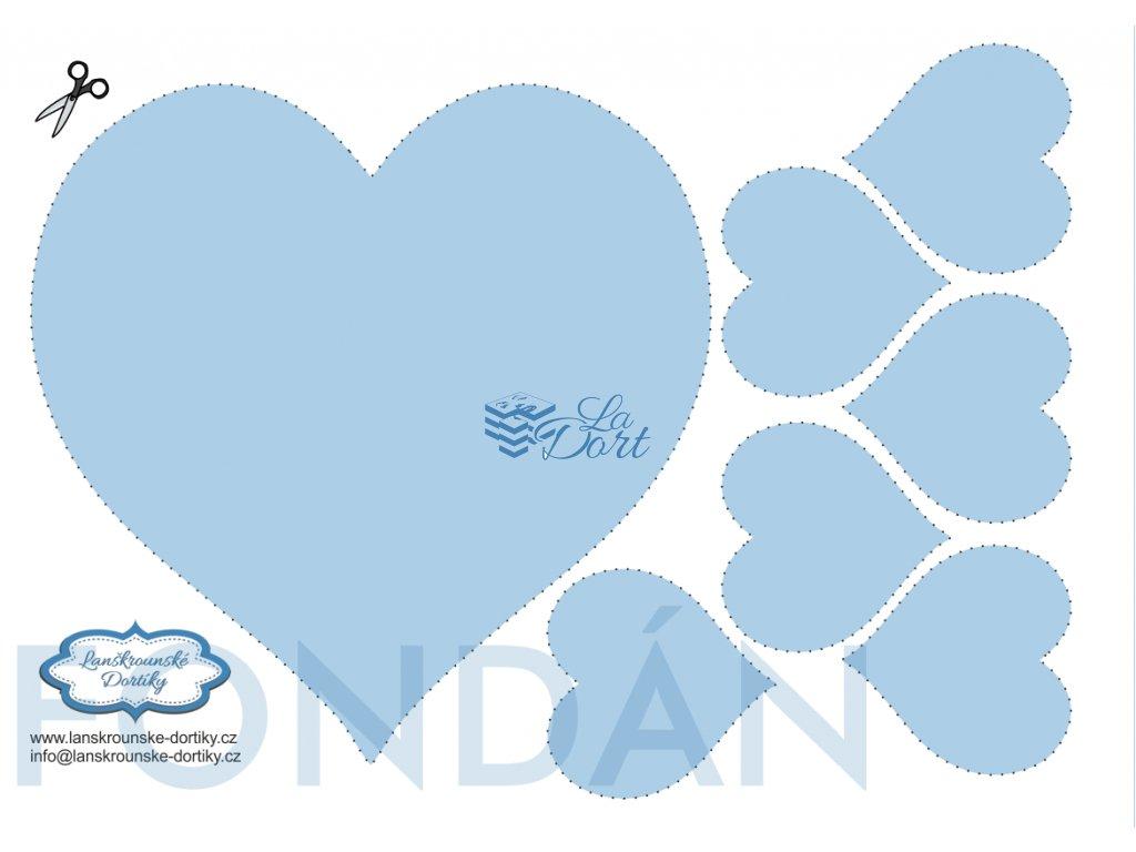 Fondánový list - srdce 1 ks 18 cm + 6 ks 6 cm