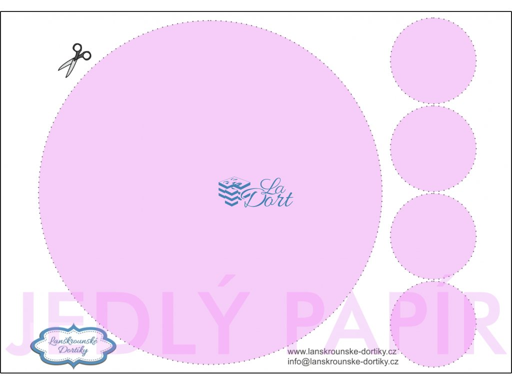 Jedlý papír - kruh 1 ks ⌀20 cm + 4 ks ⌀5 cm