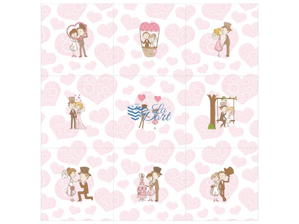 Sugar Stamps - A4 - Svatební - 48 ks na archu - 00106