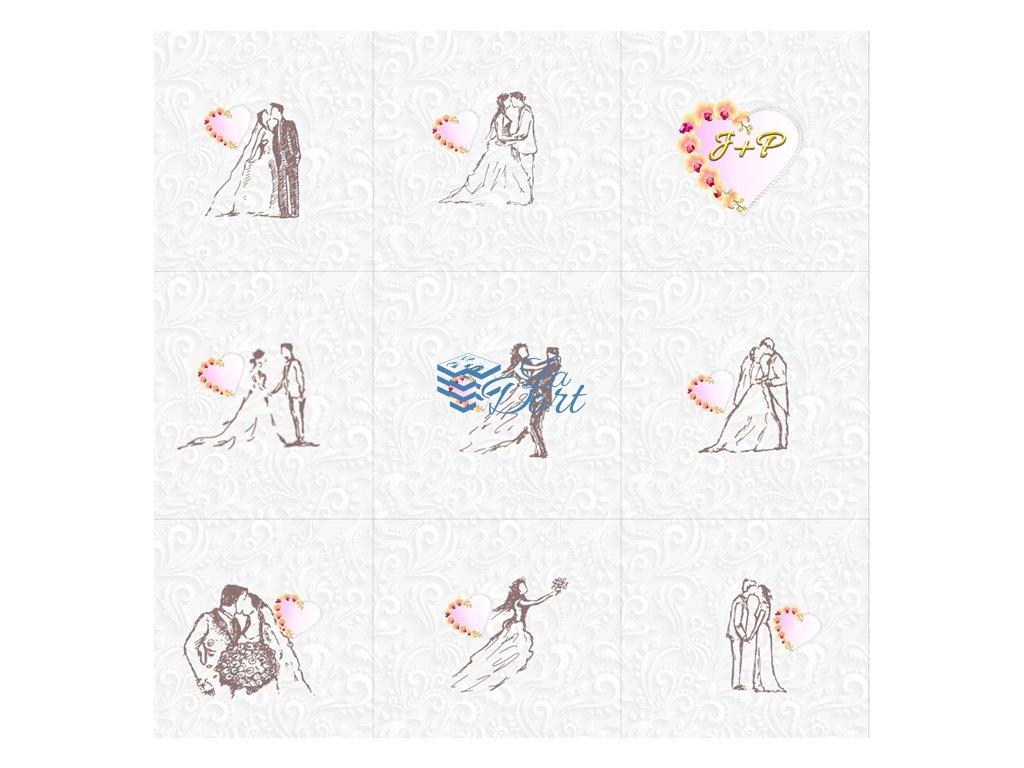 Sugar Stamps - A4 - Svatební s MONOGRAMEM- 48 ks na archu - 00107