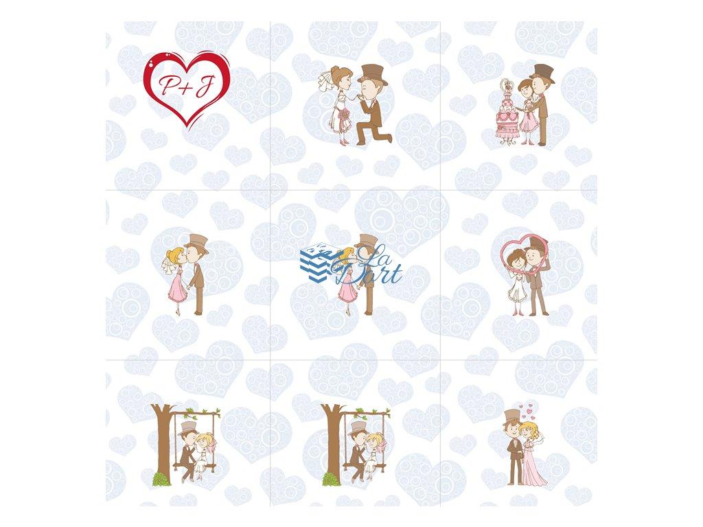 Sugar Stamps - A4 - Svatební s MONOGRAMEM- 48 ks na archu - 00109