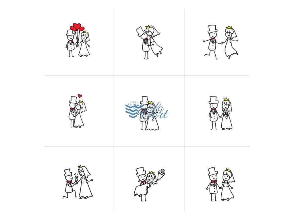 Sugar Stamps - A4 - Svatební - 48 ks na archu - 00112