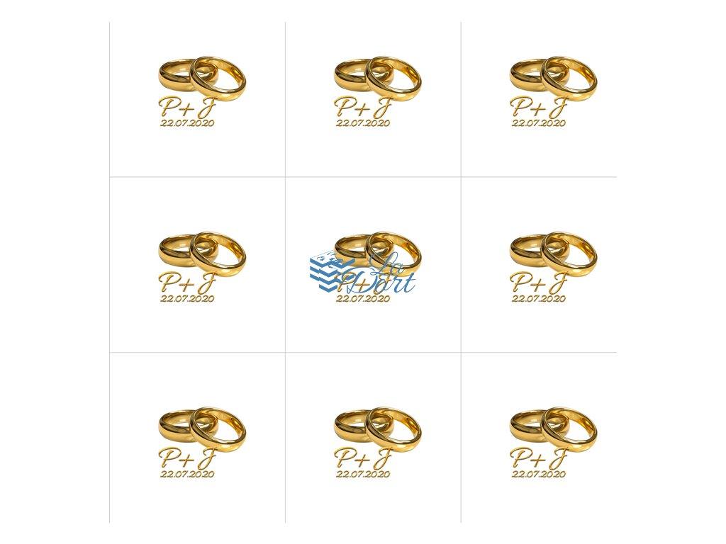 Sugar Stamps - A4 - Svatební s MONOGRAMEM- 48 ks na archu - 00113