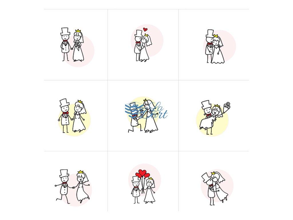 Sugar Stamps - A4 - Svatební - 48 ks na archu - 00114