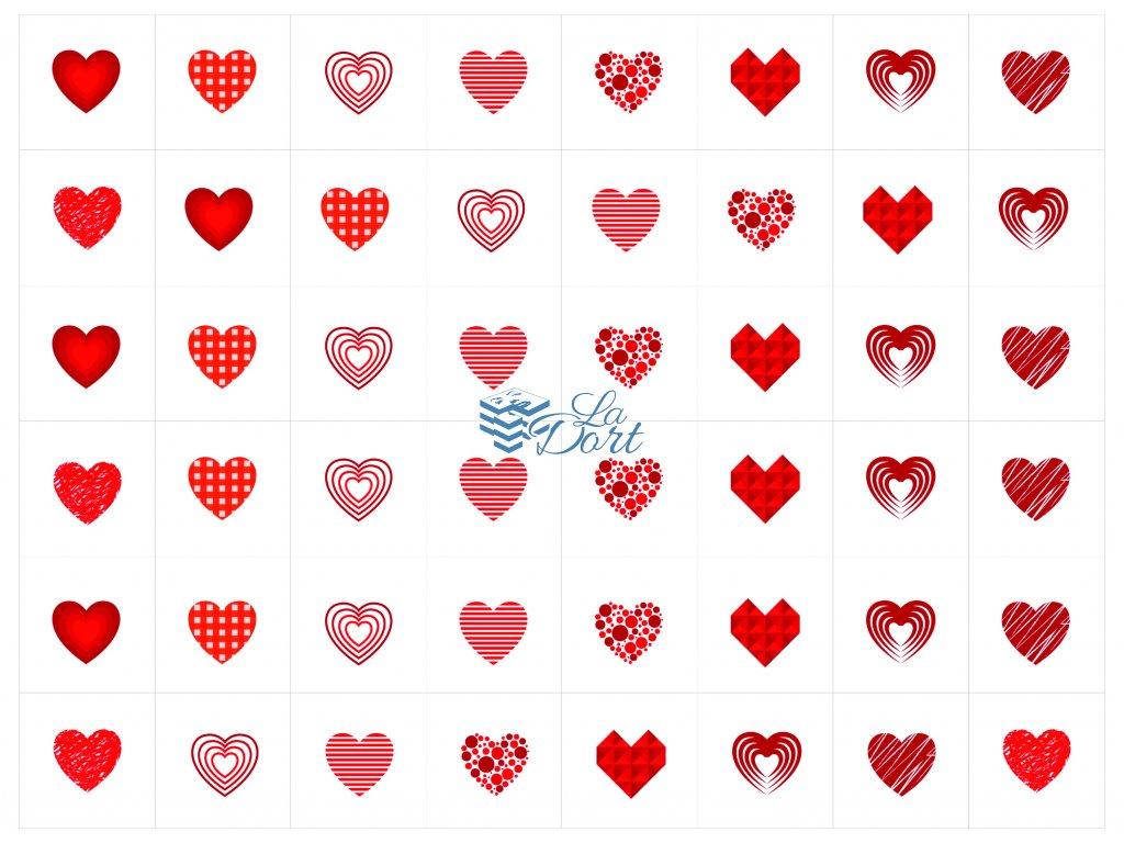Sugar Stamps - A4 - Srdce - 48 ks na archu - 00141