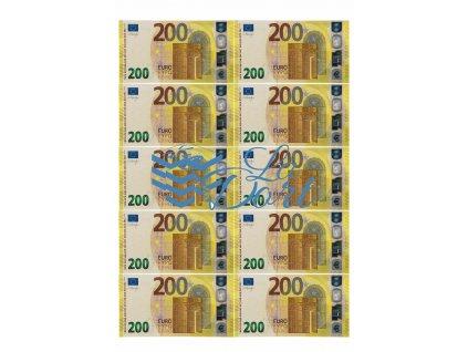 Euro platné bankovky 200€ - líc - A4 - 00224