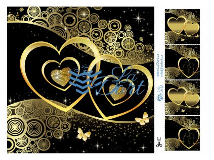 Valentýn černý motiv se zlatými srdci čtverec - A4 - 00235