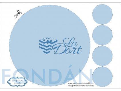 Fondánový list - kruh 1 ks ⌀20 cm + 4 ks ⌀5 cm