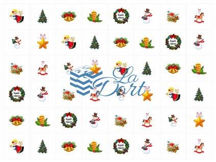 Sugar Stamps - A4 - Vánoce - nejméně 48 ks na archu - 00191