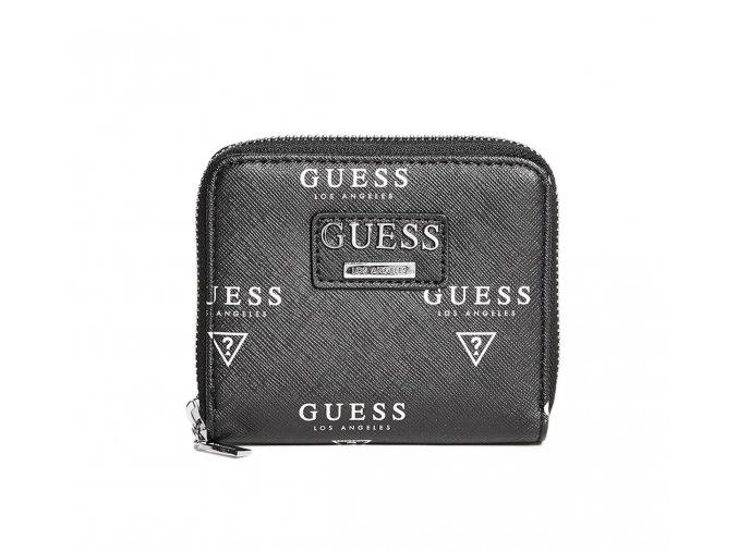 Dámská menší LOGO peněženka Guess - černobílá