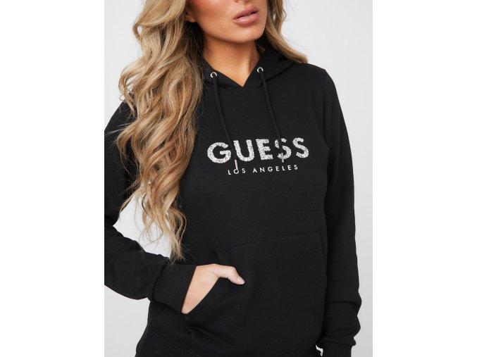 Dámská mikina Guess kapucí - černá