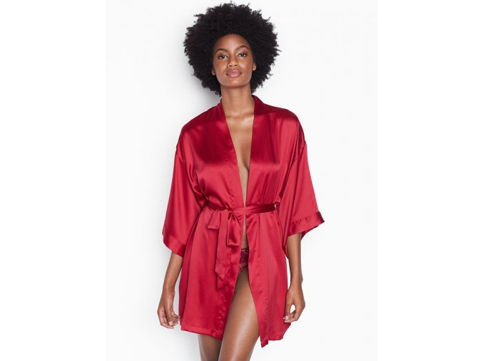 Short satin kimono červený I