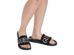 Dámské Guess pantofle s nápisem Guess - černé
