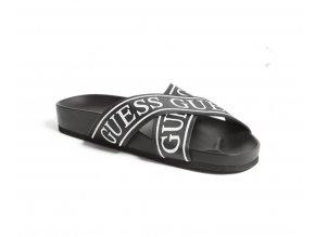 Dámské Guess pantofle s nápisem - černobílé