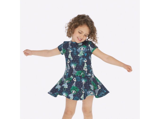Dívčí šaty s krátkým rukávem a potiskem Mayoral 4938